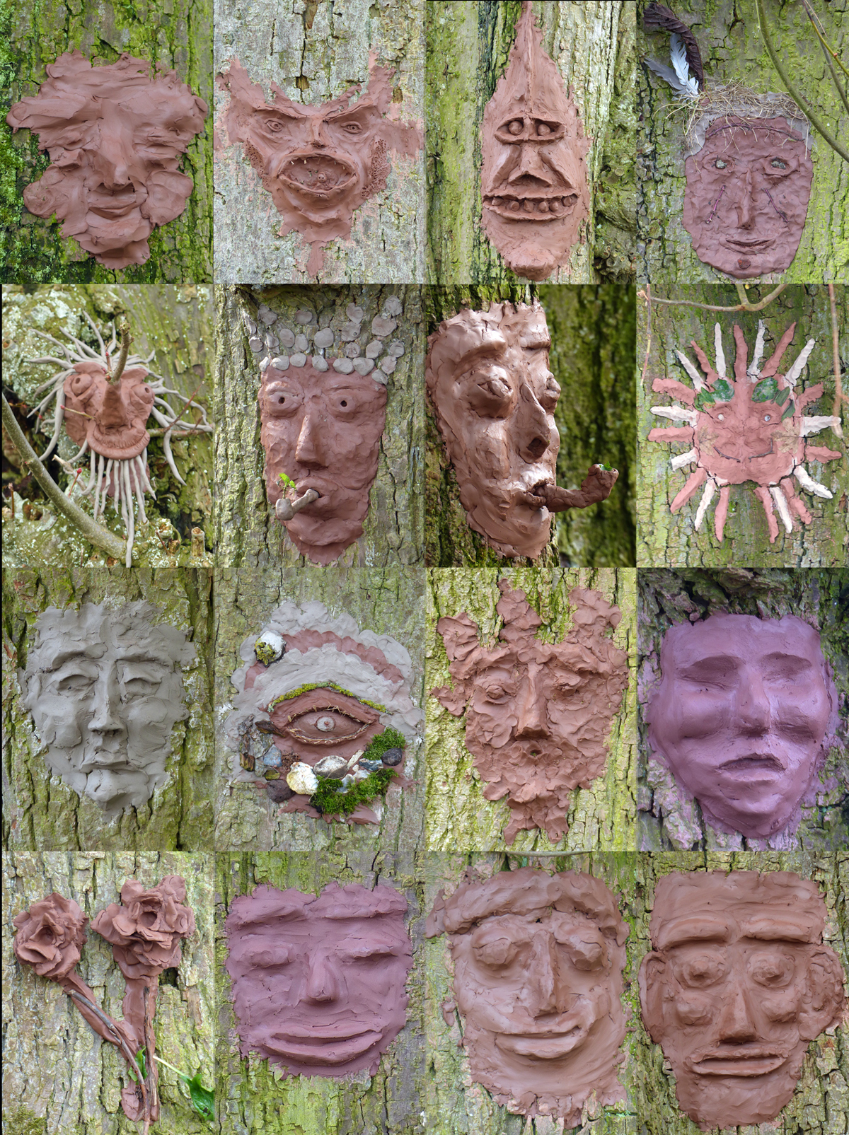 clay masks and designs on tree barks